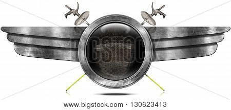 3d Illustration of a round metallic symbol with a fencing mask two fencing foils and metal wings. Isolated on white background