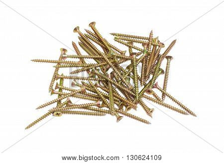 Pile of zinc plated chipboard screws with countersunk heads on a light background