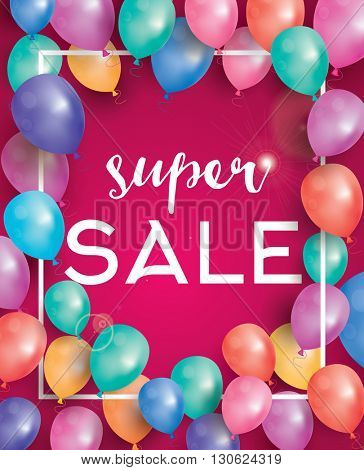 Super sale poster on red background with flying balloons and white frame. Super sale banner.