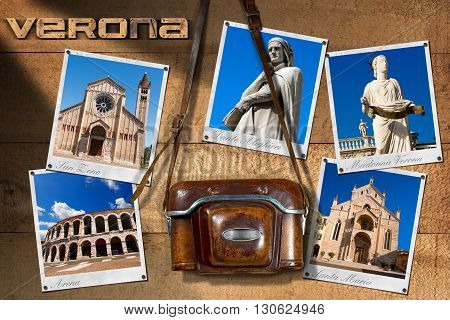 Old and vintage camera with leather case and five photos of Verona (UNESCO world heritage site) Veneto Italy
