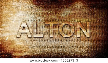 alton, 3D rendering, text on a metal background