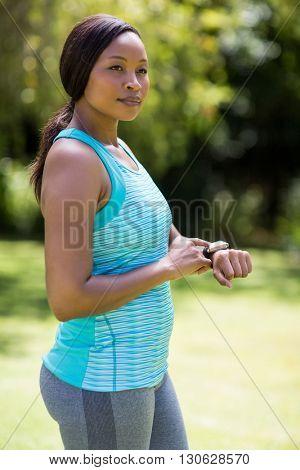 Woman posing at park