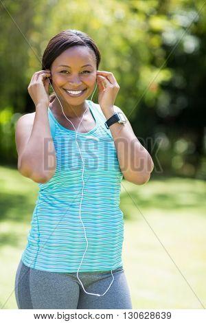 Happy woman listening music
