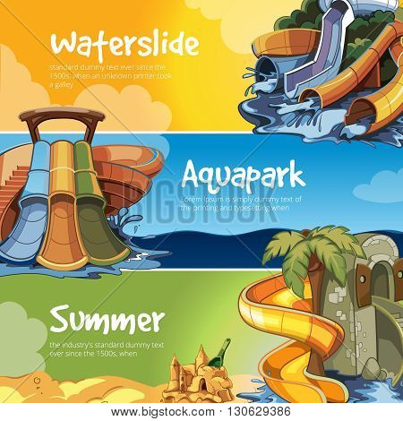 Set of Water slide in an aquapark. Vector illustrations. Web banners of Water slide