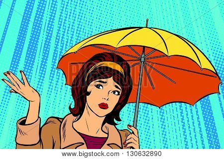 Beautiful sad girl in rain with umbrella, bad weather pop art retro vector. Umbrella rain vector. Retro girl in the fall. Thunderstorm and rain