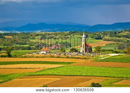 Church and graveyard on picturesque landscape region of Prigorje Croatia