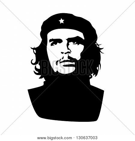 Ernesto Che Guevara black silhouette isolated on white