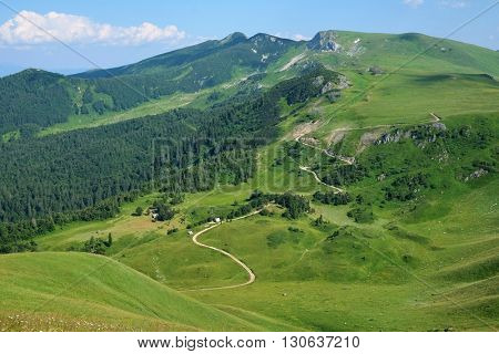 sinuous trail along slope bjelasica mountains in