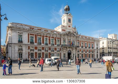 MADRID,SPAIN - APRIL 25,2016 - In the streets of Madrid (Puerta del Sol)- building of (Comunidad de Madrid).Madrid is the capital of Spain.