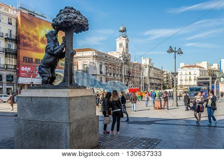 MADRID,SPAIN - APRIL 25,2016 - In the streets of Madrid (Puerta del Sol). Madrid is the capital of Spain.