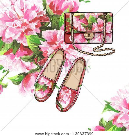 Lady fashion set of spring season outfit. Illustration stylish and trendy clothing. Bag and shoes withs flower peony watercolor romantic pattern