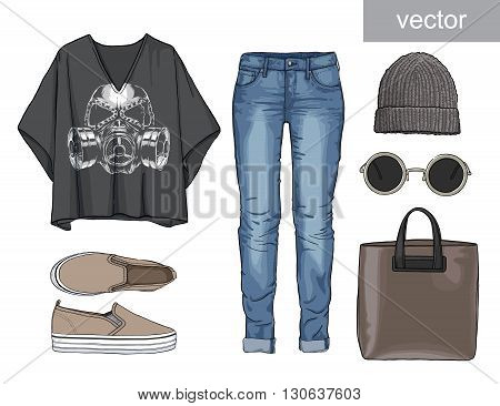 Lady fashion set of autumn, winter season outfit. Illustration stylish and trendy clothing. Denim, slip-on, jeans., hat, bag. Skull. Vector