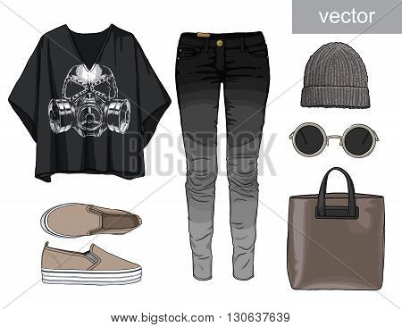 Lady fashion set of autumn, winter season outfit. Illustration stylish and trendy clothing. Denim, slip-on, jeans., hat, bag. Skull. Vector