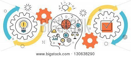 Flat line illustration of born business project startup thought process mechanism into man brain and head from idea to success for website banner and landing page infographics logo and icon