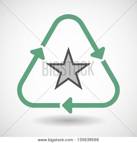 Line Art Recycle Sign Icon With  The Red Star Of Communism Icon