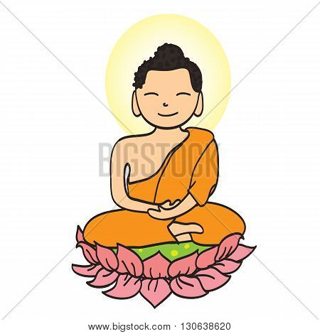 illustration of Cute young monk cartoon hand draw character