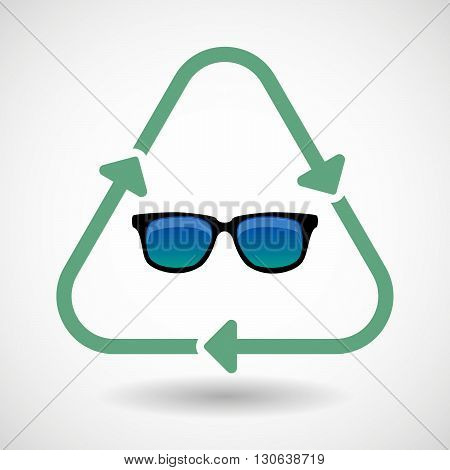 Line Art Recycle Sign Icon With  A Sunglasses Icon