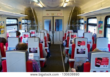 MOSСOW, Russia  May 18 2013, The interior of the car Aeroexpress, Moscow