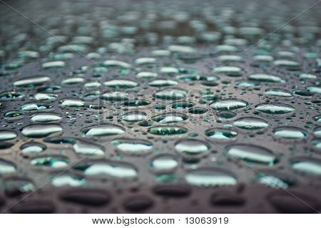 Water droplets on glass.