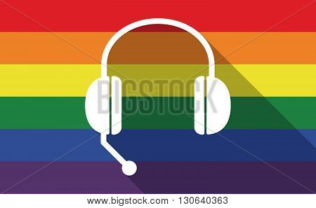 Long Shadow Gay Pride Flag With  A Hands Free Phone Device