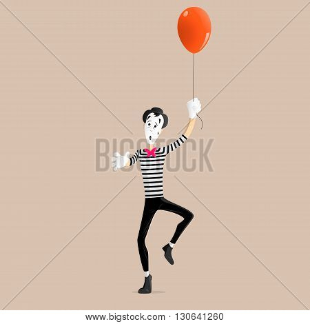 A Mime performing a pantomime flying up with a balloon