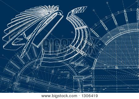 modern architectural object design blue print. two plans (foundation and 1st floor) in the hal-background and dynamic perspective on the first plan poster