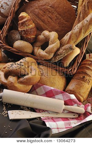 poster of fresh healthy natural bread food group in studio on table