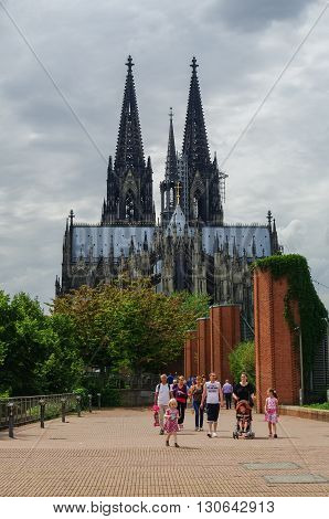 Cologne, Germany- Jule 10, 2011 : View of Cologne cathedral from side of Hohenzollern Bridge