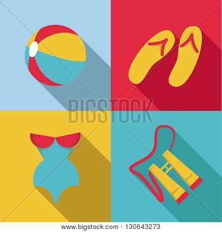 Flat design style Summer acessories icon set