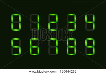 Set of green digital number signs made up from seven segments on dark background