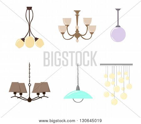 Chandelier silhouette isolated on White background. Set of candlesticks and chandeliers. Vector illustration. hanging lamp vector chandelier vector decorate icon set.