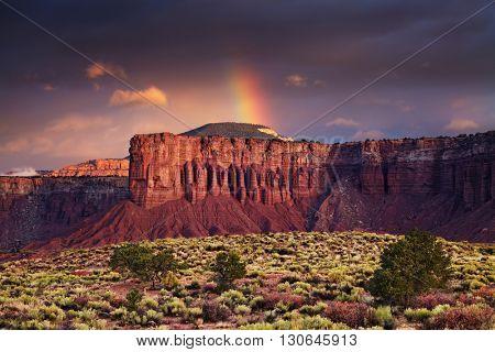 Red rock formations, sunrise near Torrey, Utah, USA