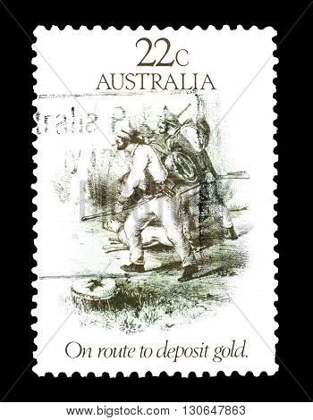 AUSTRALIA - CIRCA 1981 : Cancelled postage stamp printed by Australia, that shows Gold diggers.
