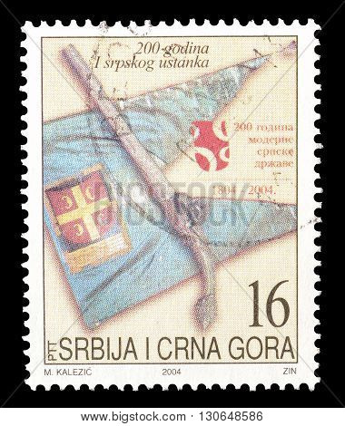 SERBIA AND MONTENEGRO - CIRCA 2004 : Cancelled postage stamp printed by Serbia and Montenegro, that shows Symbols of resistance.