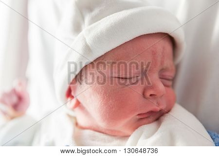 New Born Boy Baby Sleeping Just After Being Born