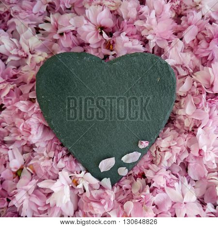 Black Slate heart on a bed of pink blossom. Room for text on heart shape