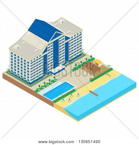 vector illustration. Modern hotel on the seafront. hotel building beach deckchair parasol cafe swimming pool. Infographics isometric