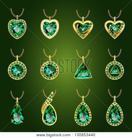Set of realistic green jewels. Colorful green gemstones. Green emerald pendants isolated on green background. Princess cut jewel. Round cut jewel. Emerald jewel. Oval jewel. Pear jewel . Heart jewel.