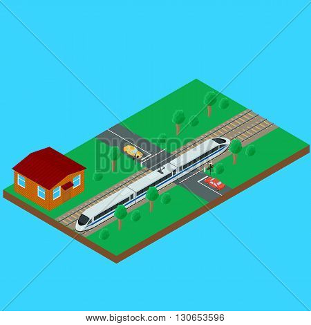 Vector illustration. High-speed passenger train traveling through the railroad crossing. House train the inspector. Semaphore a barrier car on the road. isometric infographic