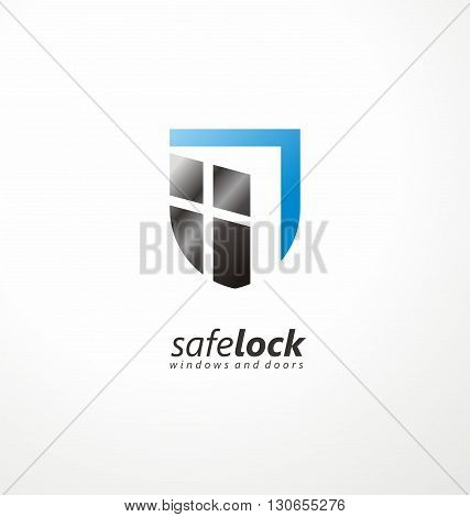 Safe lock windows and doors creative symbol concept. Unique logo design idea with shield shape and open window. Home security.Vector icon for insurance  or guard company. Doors seller or manufacturer.