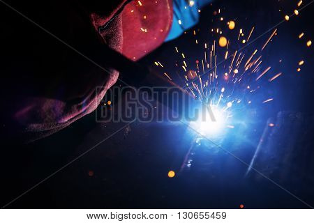 the welding spark light in close-up scene