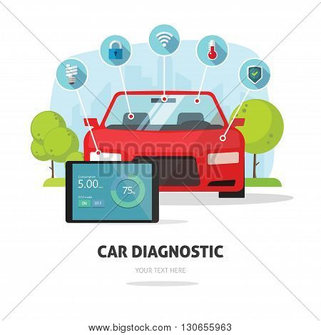 Car diagnostics test service, protection insurance service concept or car electronics parts service shop symbol. Repair help infographic elements. Modern smart technology design vector illustration.