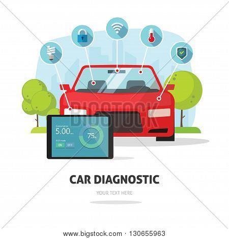 Car diagnostics test service, protection insurance service concept or car electronics parts service shop symbol. Repair help infographic elements. Modern smart technology design vector illustration.