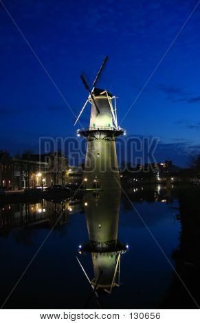 Old Windmill By Night