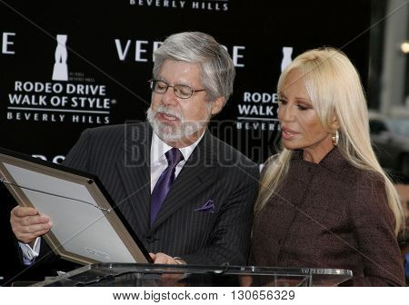 Mayor of Beverly Hills Stephen Webb and Donatella Versace at the Gianni and Donatella Versace Receive Rodeo Drive Walk Of Style Award held at the Rodeo Drive in Beverly Hills, USA on February 8, 2007.