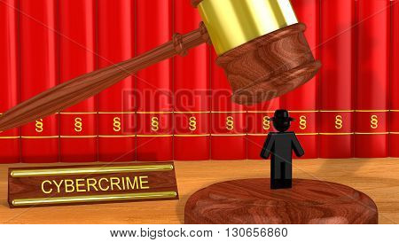 Wooden gavel is about to smash a black hat hacker cybercrime 3D illustration