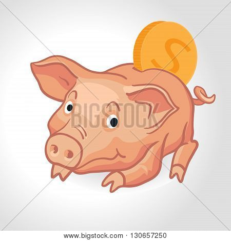 Vector realistic cartoon pig piggy bank with coin. Save the money concept