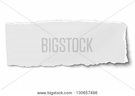 White oblong paper tear isolated on white background with soft shadow