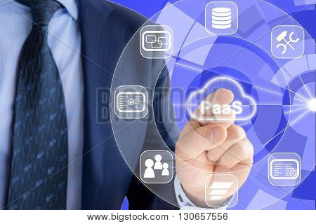 IT expert in a blue suit is pressing a glowing cloud symbol with PaaS Platform as a service and icons of services around