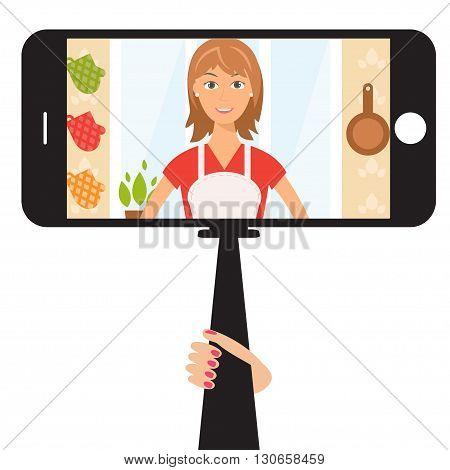 Monopod Selfie with cartoon woman .Vector illustration